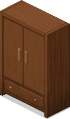 Example of a wardrobe found in in-game bedrooms.